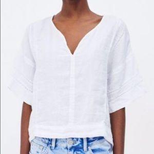 Zara white linen lace tunic top xs